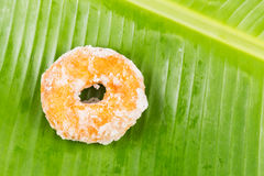 Sweet potatoes dough nut ring on banana leaf Royalty Free Stock Photo