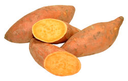 Sweet Potatoes. Group of raw sweet potatoes isolated on a white background Royalty Free Stock Photos