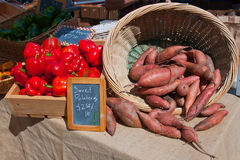 Sweet Potatoes and Red Peppers Royalty Free Stock Photos