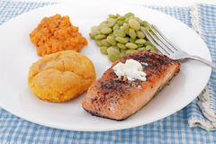 Sweet Potatoes and Salmon Stock Photos