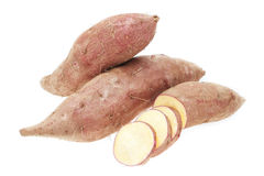 Sweet potatoes sliced ​​raw closeup. Royalty Free Stock Images