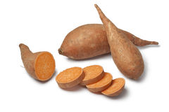 Sweet potatoes and slices Stock Photo