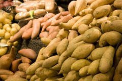 Sweet potatoes in supermarket Royalty Free Stock Photo