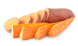 Sweet potatoes. On white background Stock Photos