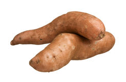 Sweet potatoes yams isolated on white background, close-up Royalty Free Stock Image