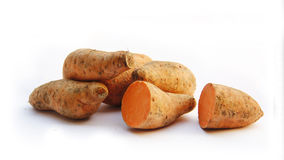 Sweet potatos. Sweet potatos on the white background Stock Photography