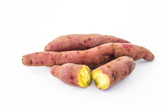 Sweet potatos. Yellow sweet potatoes on white background Royalty Free Stock Photos