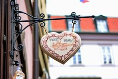 Sweet Prague on the street stock images