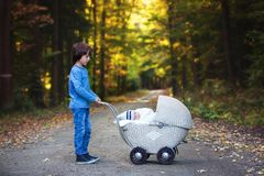 Sweet preschool boy pushing his little newborn baby boy, sleepin. G in old retro stroller in forest, autumn time, wrapped in scarf and knitted hat. Posed baby Stock Images