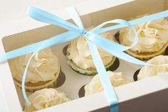 Sweet present. gift box with cupcakes Stock Image