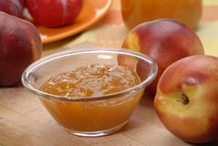 Sweet preserve. Peach preserve,peach conserve and peach,fruit preserve Stock Photo