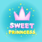 Sweet Princess birthday greeting card vector illustration cartoon design for girl holiday or party celebration Royalty Free Stock Image