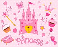 Sweet Princess Icons. Colorful set of Sweet Princess Icons Stock Photos