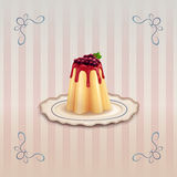Sweet pudding with currants on vintage plate Royalty Free Stock Photos