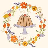 Sweet pudding in floral wreath card Royalty Free Stock Photo