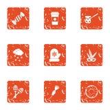 Sweet pudding icons set, grunge style. Sweet pudding icons set. Grunge set of 9 sweet pudding vector icons for web isolated on white background Stock Image