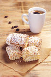 Sweet puff cookies with nuts and coffee Royalty Free Stock Photography