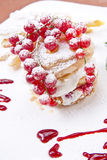 Sweet Puff Pastry. With Berries And Yogurt Royalty Free Stock Image
