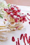 Sweet Puff Pastry. With Berries And Yogurt Royalty Free Stock Photo