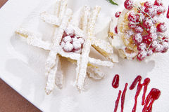 Sweet Puff Pastry. With Berries And Yogurt Stock Photos