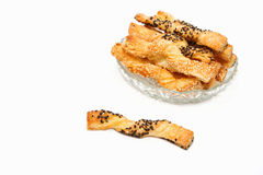 Sweet puff pastry sticks  with sesame seeds Royalty Free Stock Photos