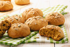 Sweet pumpkin buns with cinnamon and ginger. Stock Image