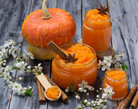 Sweet pumpkin jam in jar. Selective focus Stock Images