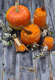 Sweet pumpkin jam in jar Royalty Free Stock Photos