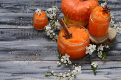 Sweet pumpkin jam in jar Stock Photo