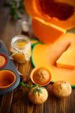 Sweet pumpkin muffins Royalty Free Stock Photos