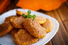 Sweet pumpkin pancakes Royalty Free Stock Photos