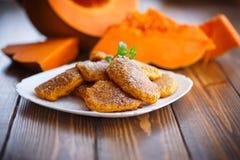 Sweet pumpkin pancakes Royalty Free Stock Images