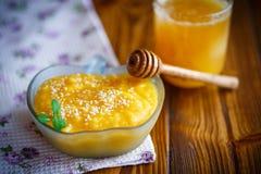 Sweet pumpkin porridge with honey and sesame seeds Stock Image