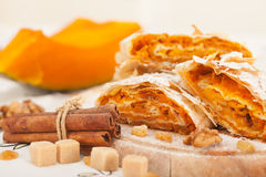 Sweet pumpkin strudel Royalty Free Stock Image