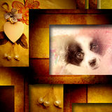 Sweet puppy vintage card. Golden tone background card, adorable puppy, vintage style Royalty Free Stock Images