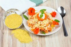 Sweet puree from millet grains, apricot and coconut Royalty Free Stock Photo