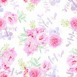 Sweet purple peonies seamless vector print Stock Images