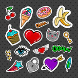 Sweet quirky badges set. With food, hearts and cat on dark background. Vector colorful stickers and patches collection Royalty Free Stock Images