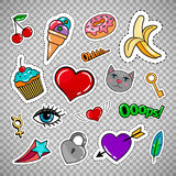 Sweet quirky badges on transparent background. Sweet quirky badges set with food, hearts and cat. Vector colorful stickers and patches collection isolated on Stock Image