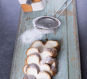 Sweet raisen bread with strainer and sugar Stock Photos