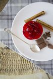 Sweet raspberry cake with chocolate, cinnamon and anis stars Royalty Free Stock Photos
