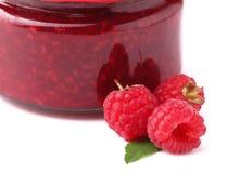 Sweet raspberry jam. Home made raspberry jam on a white Stock Image