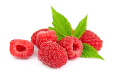 Sweet raspberry with leafs Royalty Free Stock Photography