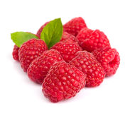 Sweet raspberry with leaves Royalty Free Stock Photo