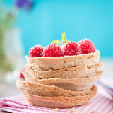 Sweet raspberry tartlet. Stacked tartelettes with pudding and raspberries Stock Images