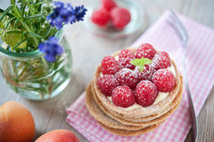 Sweet raspberry tartlet. Sweet tartelette with pudding and raspberries Royalty Free Stock Photography