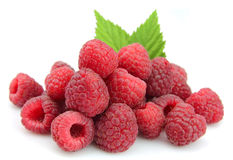 Sweet Raspberry With Leafs Stock Images