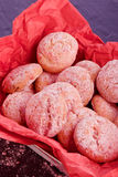 sweet raspbery cookies in a red basket Stock Images