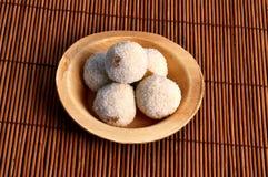Sweet rava laddu. Camera shot on sweet rava laddu with mat texture background Royalty Free Stock Image