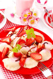 Sweet ravioli with strawberry Stock Images
